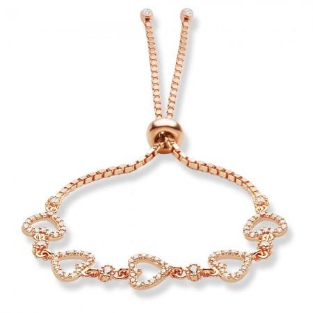 - 925 Ayar Gümüş Zirkon Taşlı Rose Kaplama Kalp Model Bileklik
