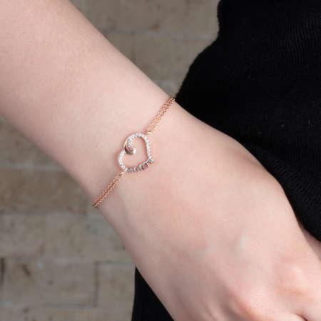 Zirkon Taşlı Annem Yazılı Kalp Tasarım 925 Ayar Gümüş Bayan Bileklik - Thumbnail