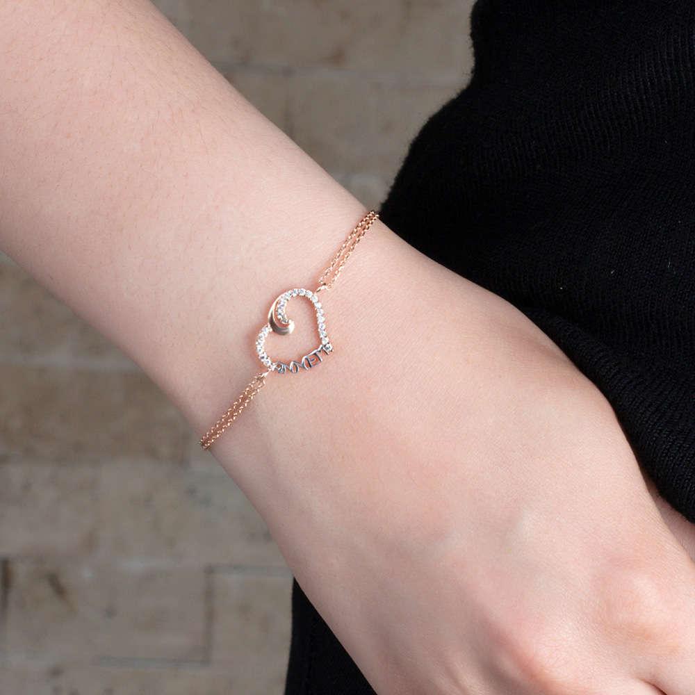 Zirkon Taşlı Annem Yazılı Kalp Tasarım 925 Ayar Gümüş Bayan Bileklik