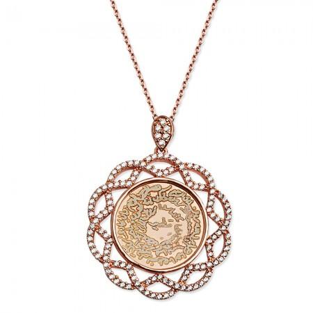 Tesbihane - 925 Ayar Gümüş Zirkon Taşlı Roseli Kolye
