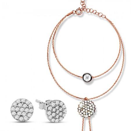 Tesbihane - 925 Ayar Gümüş Zirkon Taşlı Şahmaran ve Küpe Kombini