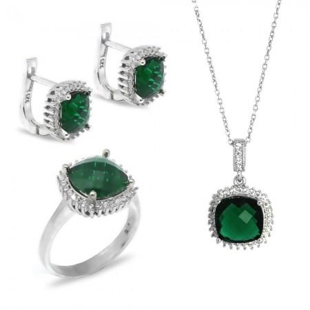 Tesbihane - Yeşil Zirkon Taşlı Dörtgen Tasarım 925 Ayar Gümüş 3'lü Takı Seti