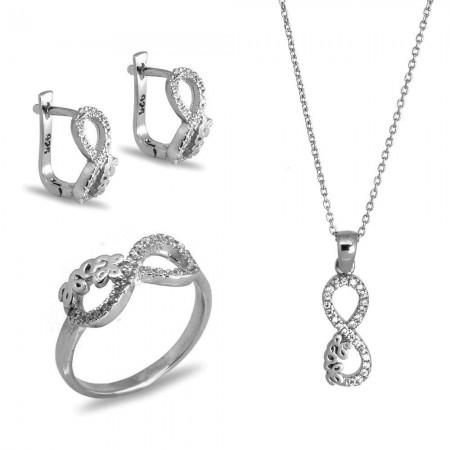 925 Ayar Gümüş Zirkon Taşlı Set (Model-13) - Thumbnail