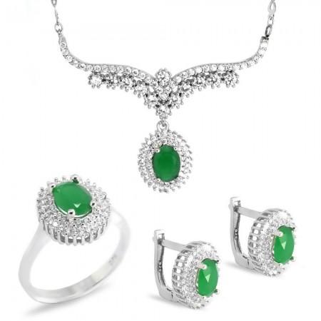 Tesbihane - Yeşil Zirkon Taşlı Oval Tasarım 925 Ayar Gümüş 3'lü Takı Seti
