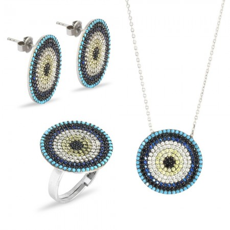 Tesbihane - Zirkon Taşlı Göz Tasarım 925 Ayar Gümüş 3'lü Takı Seti