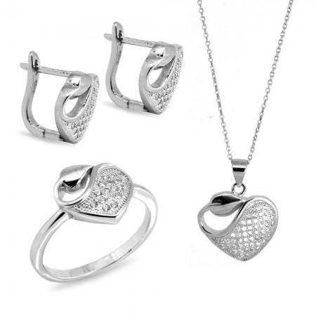 925 Ayar Gümüş Zirkon Taşlı Set (Model-21) - Thumbnail