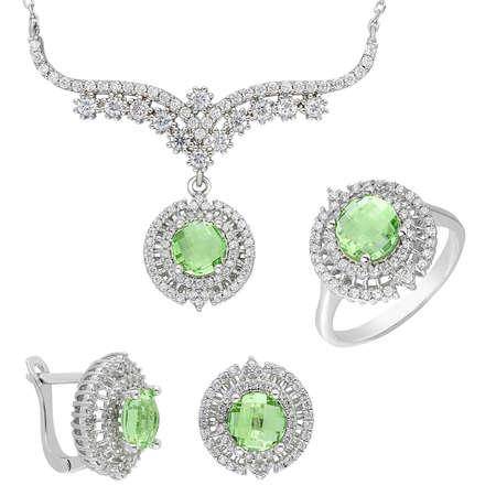 Tesbihane - Açık Yeşil Zirkon Taşlı 925 Ayar Gümüş 3'lü Takı Seti