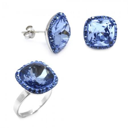 - Mavi Zirkon Taşlı 925 Ayar Gümüş 2'li Takı Seti