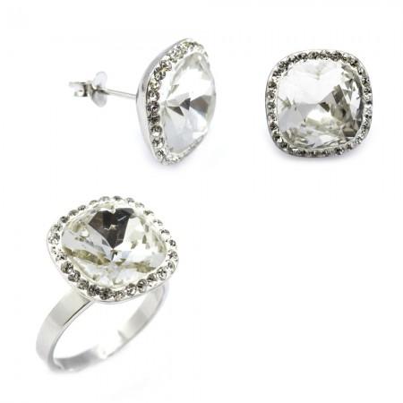 - Beyaz Zirkon Taşlı 925 Ayar Gümüş 2'li Takı Seti