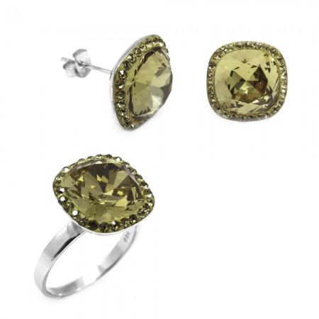 Tesbihane - Yeşil Zirkon Taşlı 925 Ayar Gümüş 2'li Takı Seti