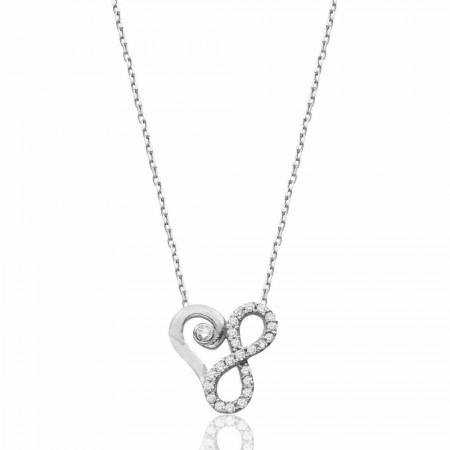 Tesbihane - 925 Ayar Gümüş Zirkon Taşlı Sonsuzluk Kalp Kolye