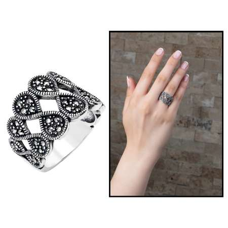 Tesbihane - 925 Ayar Gümüş Siyah Zirkon Taşlı Sonsuzluk Tasarım Bayan Yüzük