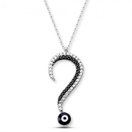 Tesbihane - 925 Ayar Gümüş Zirkon Taşlı Soru İşareti Kolye
