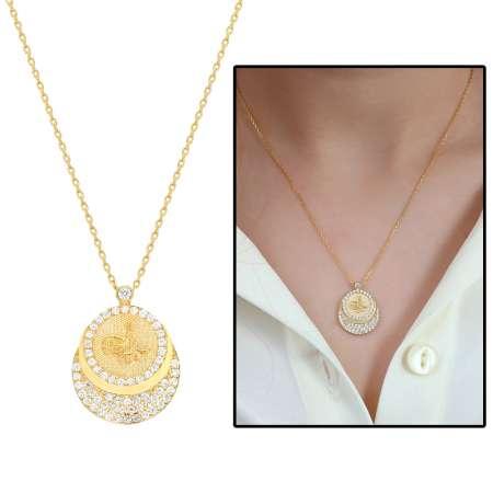 - Zirkon Taşlı Gold Renk Tuğra Tasarım 925 Ayar Gümüş Bayan Kolye