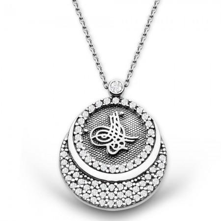 - 925 Ayar Gümüş Zirkon Taşlı Tuğra Kolye (Model-2)