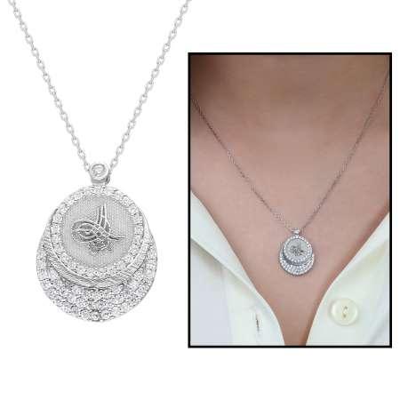 Beyaz Zirkon Taşlı Tuğra Tasarım 925 Ayar Gümüş Bayan Kolye - Thumbnail