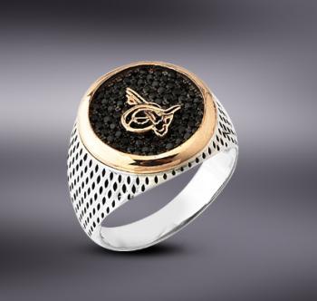 Tesbihane - 925 Ayar Gümüş Zirkon Taşlı Tuğra Model Yüzük