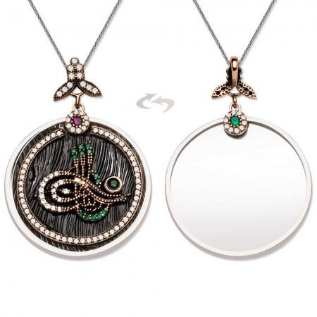 Tesbihane - 925 Ayar Gümüş Zirkon Taşlı Tuğra Tasarım Kolye