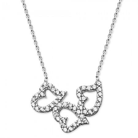 Tesbihane - 925 Ayar Gümüş Zirkon Taşlı Üç Kalp Kolye