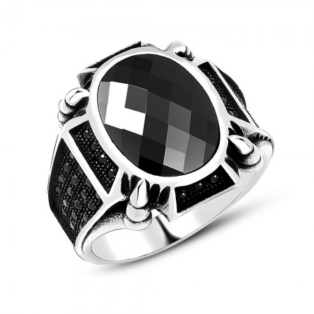 Tesbihane - Zirkon Taş İşlemeli Siyah Oval Oniks Taşlı 925 Ayar Gümüş Erkek Yüzük