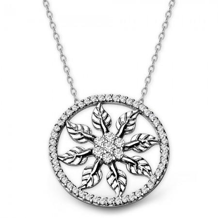- 925 Ayar Gümüş Zirkon Taşlı Yaprak Kolye
