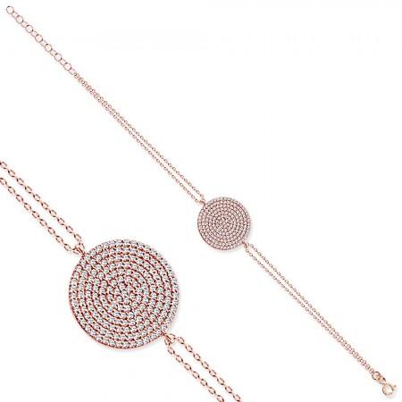- Zirkon Taşlı Yassı Yuvarlak Tasarım 925 Ayar Gümüş Bayan Bileklik