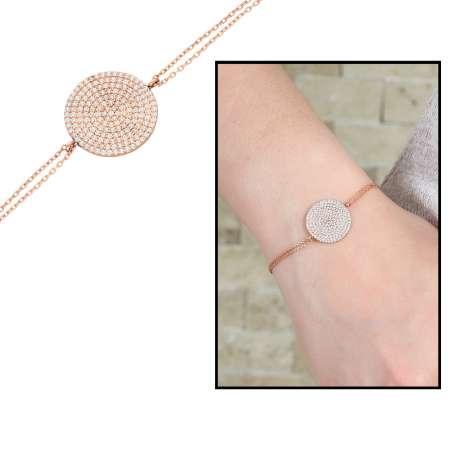Tesbihane - Zirkon Taşlı Yassı Yuvarlak Tasarım 925 Ayar Gümüş Bayan Bileklik