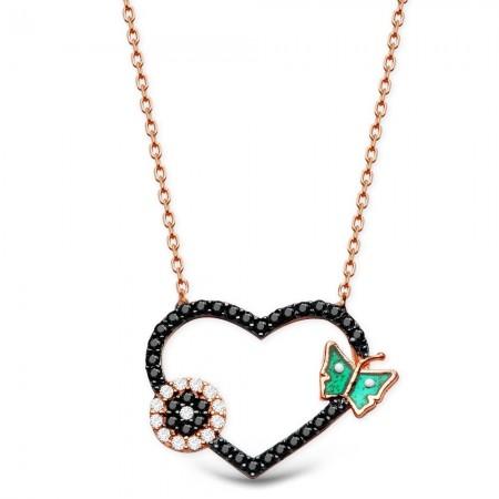 - 925 Ayar Gümüş Zirkon Taşlı Yeşil Kelebek Model Kalp Kolye