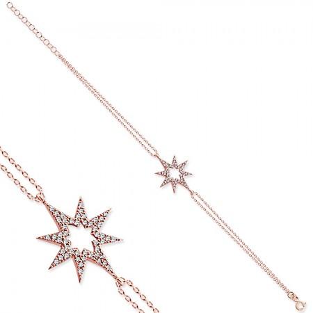 - 925 Ayar Gümüş Zirkon Taşlı Yıldız Bileklik