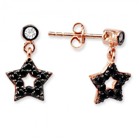 - 925 Ayar Gümüş Zirkon Taşlı Yıldız Küpe