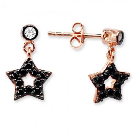 Tesbihane - 925 Ayar Gümüş Zirkon Taşlı Yıldız Küpe