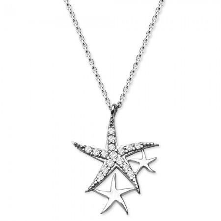 Tesbihane - 925 Ayar Gümüş Zirkon Taşlı Yıldızlar Kolye