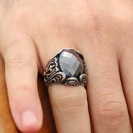 Tesbihane - 925 Ayar Gümüş Zirkon Taşlı Yüzük