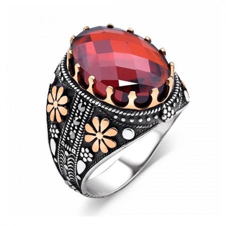 Tesbihane - Çift Çiçek İşlemeli Kırmızı Zirkon Taşlı 925 Ayar Gümüş Kral Tacı Yüzük