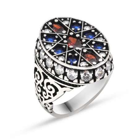 Tesbihane - Yıldız Tasarım Mavi-Kırmızı Zirkon Taşlı 925 Ayar Gümüş Erkek Yüzük