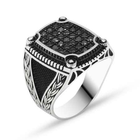 Tesbihane - Zincir Desen İşlemeli Siyah Zirkon Taşlı 925 Ayar Gümüş Erkek Yüzük