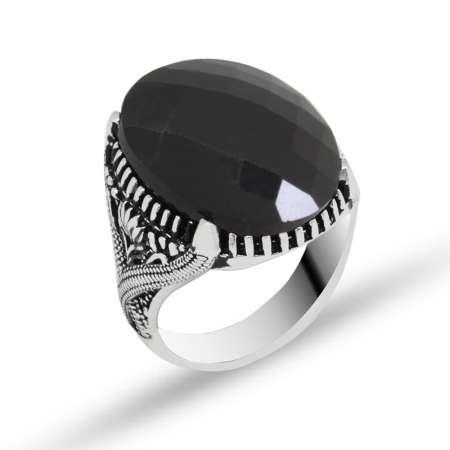 Tesbihane - Zirkon Taşlı Oval Siyah 925 Ayar Gümüş Erkek Yüzük