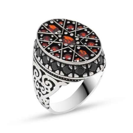 Tesbihane - Yıldız Tasarım Kırmızı Zirkon Taşlı 925 Ayar Gümüş Erkek Yüzük