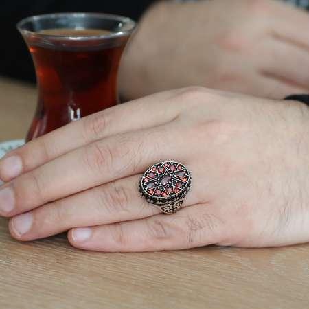 Yıldız Tasarım Kırmızı Zirkon Taşlı 925 Ayar Gümüş Erkek Yüzük - Thumbnail