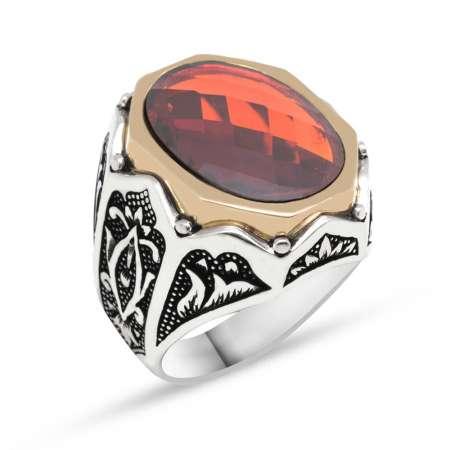 Tesbihane - Zirkon Taşlı Desenli Kırmızı Renk 925 Ayar Gümüş Yüzük