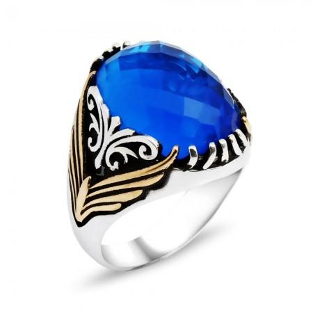 Tesbihane - Tırnak İşlemeli Mavi Zirkon Taşlı 925 Ayar Gümüş Erkek Yüzük