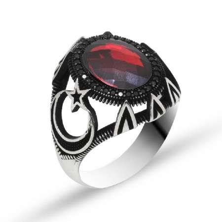 Tesbihane - Ayyıldız İşlemeli Kırmızı Zirkon Taşlı 925 Ayar Gümüş Erkek Yüzük