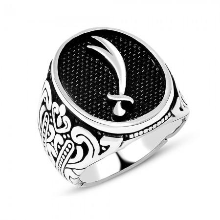 Tesbihane - Osmanlı Figür Desenli Zülfikar Kılıcı Motifli 925 Ayar Gümüş Erkek Yüzük