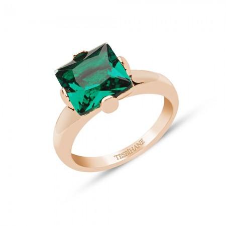 - 925 Ayar Gümüş Zümrüt Yeşili Kare Model Yüzük
