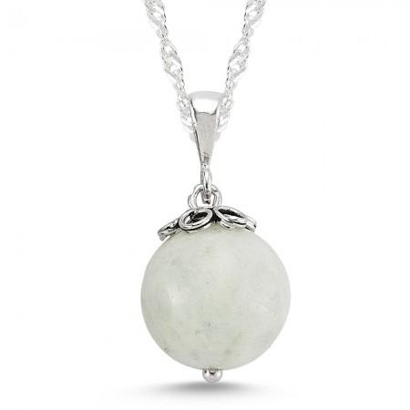 - 925 Ayar Gümüşlü Ay Taşı Kolye
