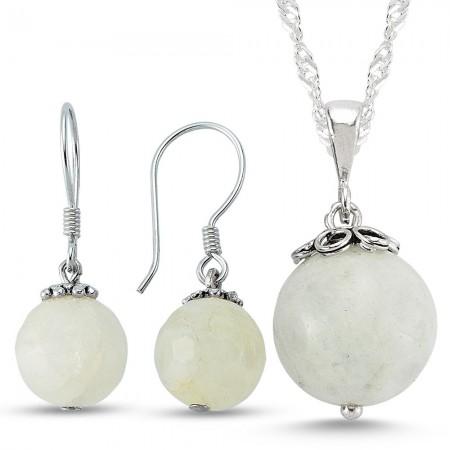 - 925 Ayar Gümüşlü Ay Taşı Küpe Ve Kolye