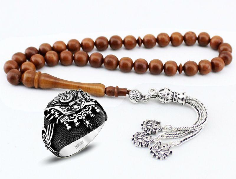 925 Ayar Gümüşlü Devlet Armalı Tesbih ve Yüzük Kombini