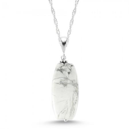 Tesbihane - 925 Ayar Gümüşlü Havlit Doğaltaş Kolye