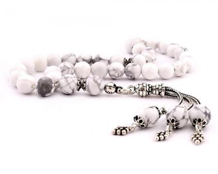Tesbihane - 925 Ayar Gümüş Püsküllü Küre Kesim Beyaz Havlit Taşı Doğaltaş Tesbih