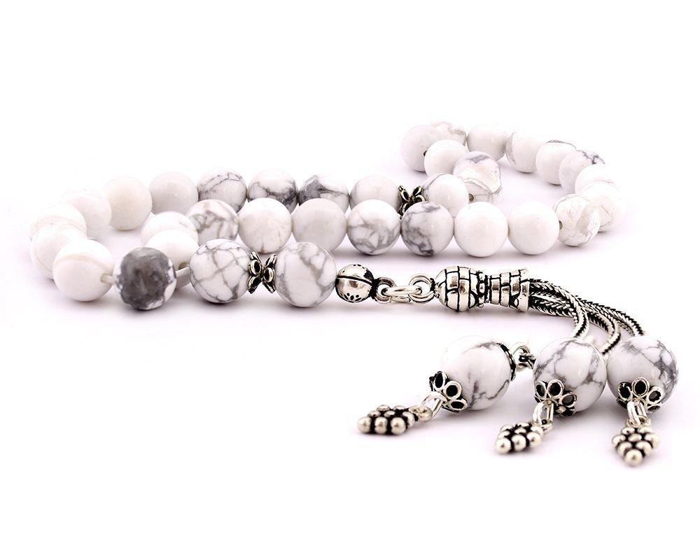 925 Ayar Gümüş Püsküllü Küre Kesim Beyaz Havlit Taşı Doğaltaş Tesbih